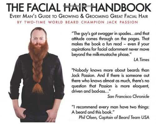 Back cover and testimonials of The Facial Hair Handbook by Jack Passion.