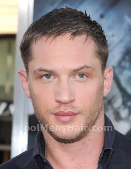 Photo of Tom Hardy short hairstyle for men.