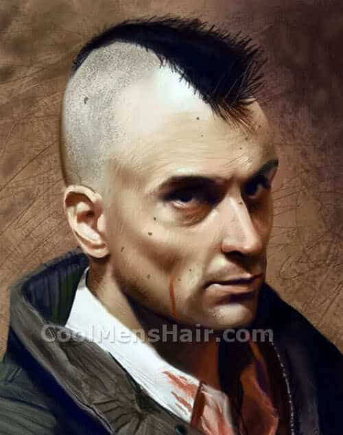 Picture of Travis Bickle mohawk hairstyle.