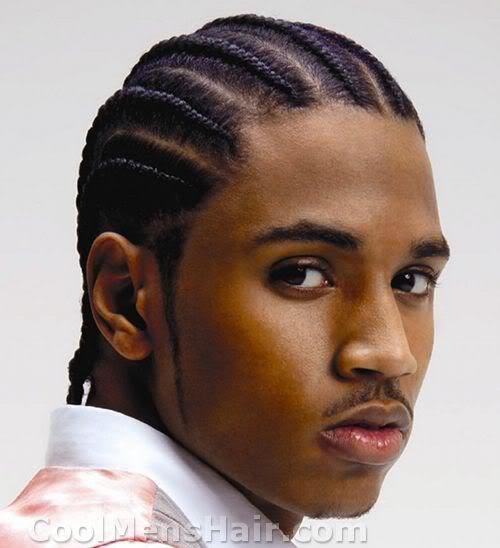 Photo of Trey Songz cornrows hairstyle.