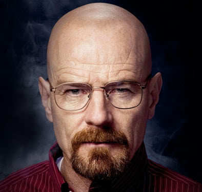Photo of Walter White bald head, mustache, and goatee.