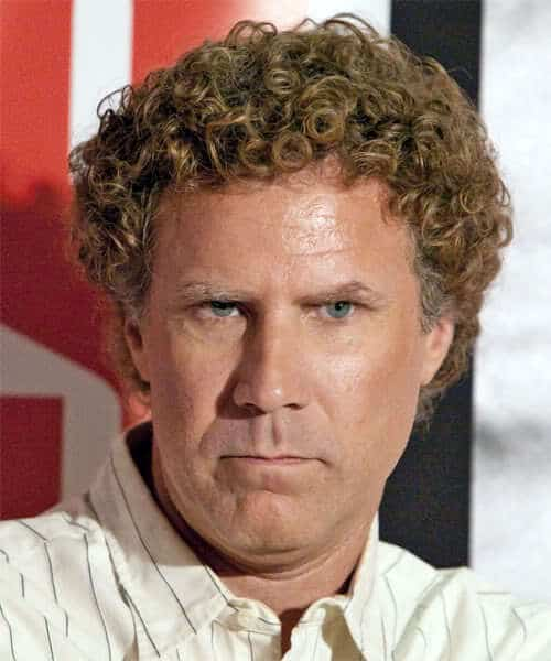 Photo of Will Ferrell medium length curly hairstyle.