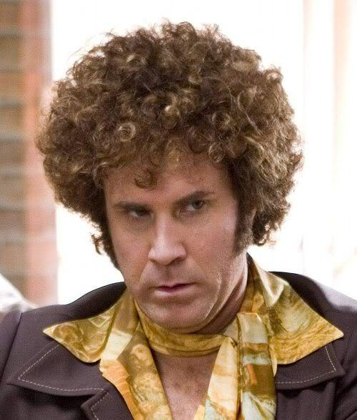 Pica of Will Ferrell afro hairstyle.