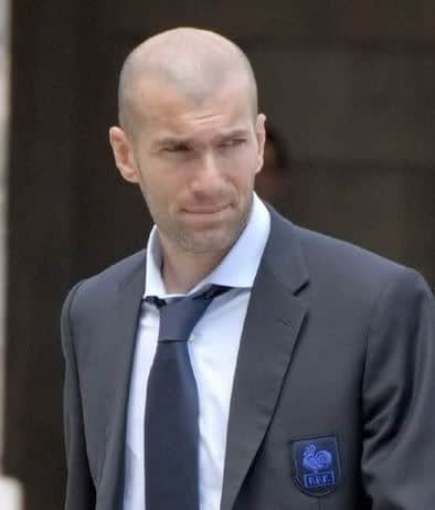 photo of best soccer player, Zinedine Zidane with his shaved head