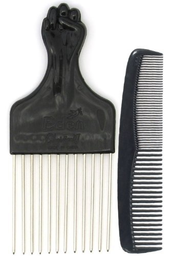 Afro Hair Pick with Black Fist and Comb Set