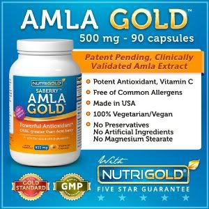 Image of Amla Gold Indian gooseberry capsules.