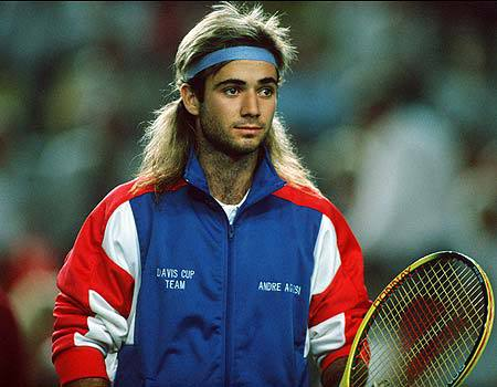 Andre Agassi mullet hair picture.