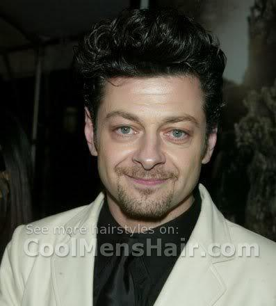 Image of Andy Serkis curly hairstyle for round face.
