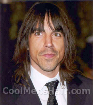 Image of Anthony Kiedis long hairstyle with fringe.