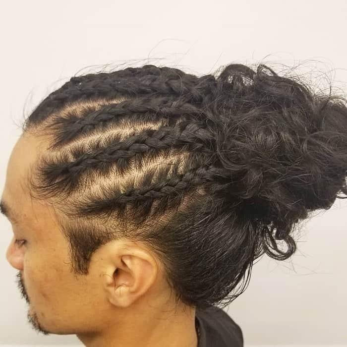 asian man bun with braids
