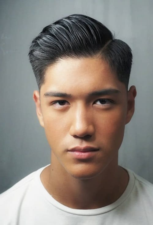asian undercut fade with side part