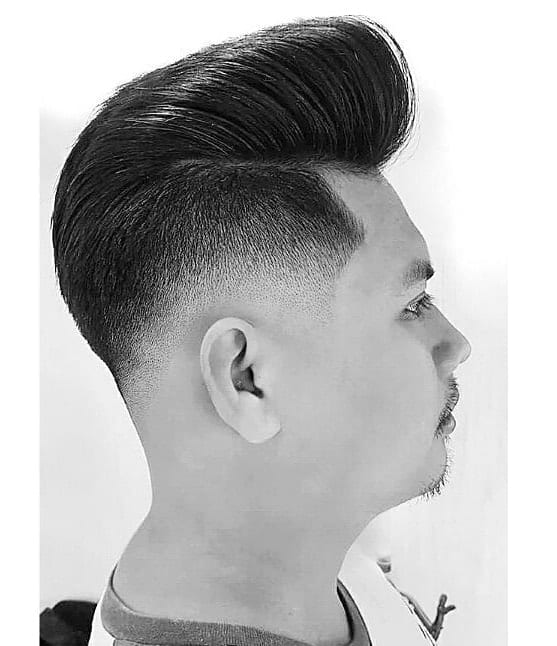 asian faded pompadour with undercut