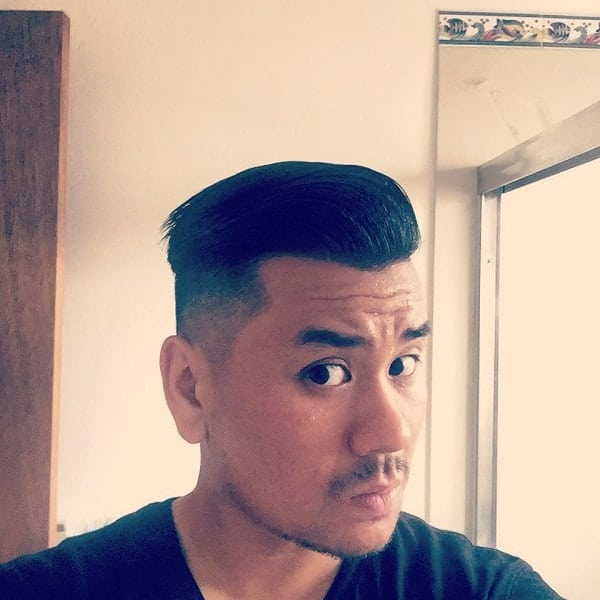 sleek back undercut hair for asian men
