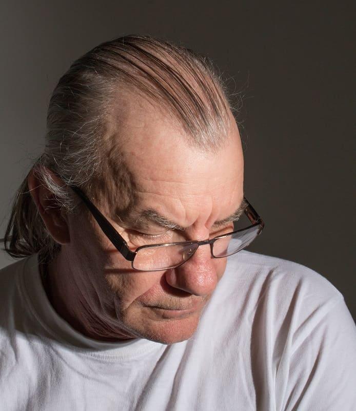 balding long hairstyle for older men