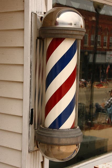 Photo of an old-fashioned barber pole.