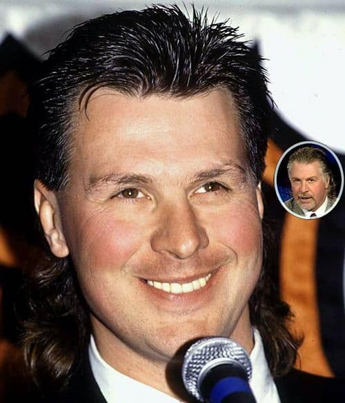 Photo of Barry Melrose mullet hairstyle.