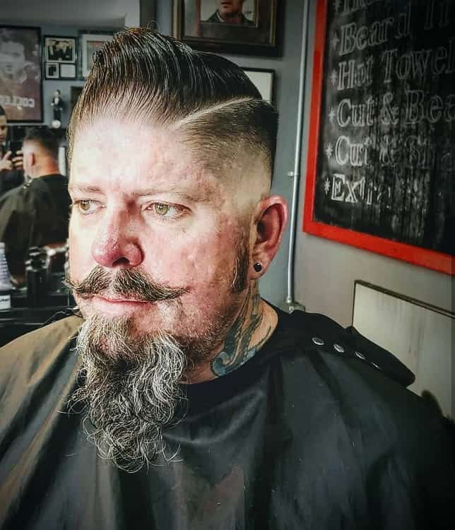 comb over fade with beard
