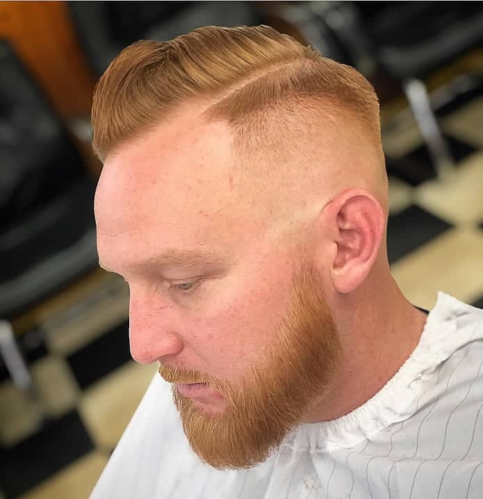 beard comb over with skin fade