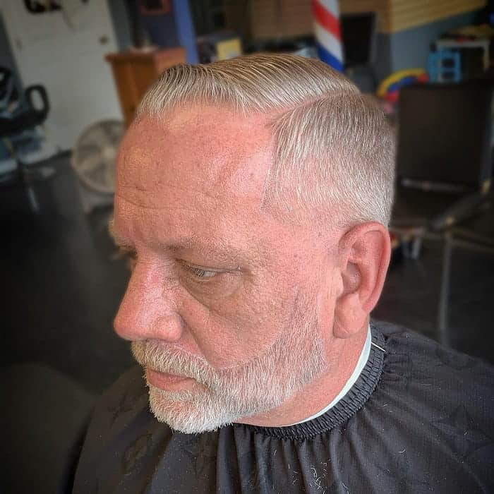 comb over with beard for older men
