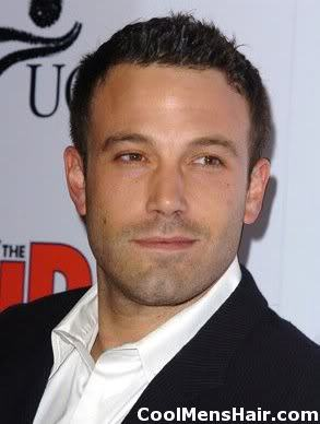 Pic of Ben Affleck short spiky hairstyle.