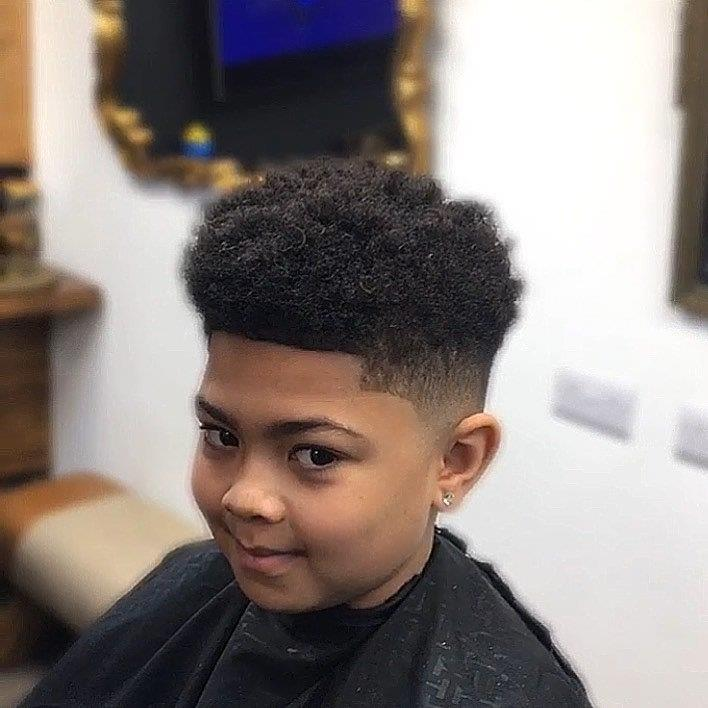 Fade Haircut For Black Boys With Design 97