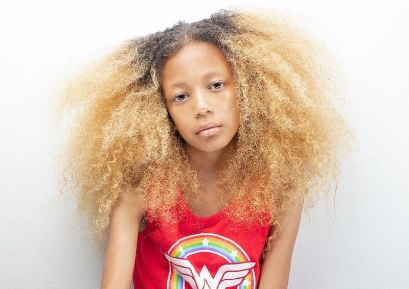 black kid with blonde afro hair