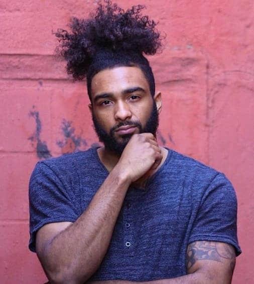 black men curly ponytail