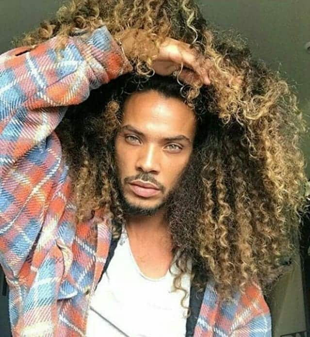 Long Curly Blonde Hairstyles for Black Men