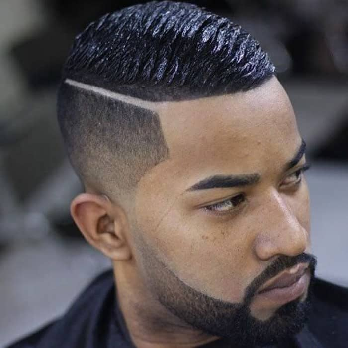 black men straight hair with side part