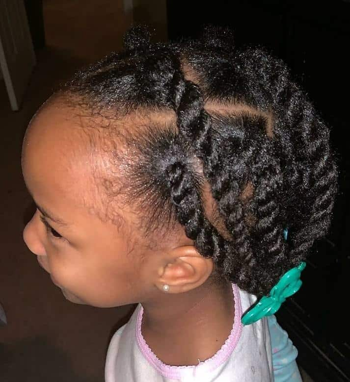 black toddler girl with cornrow twists