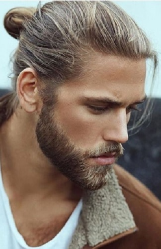 men's blonde hair man bun
