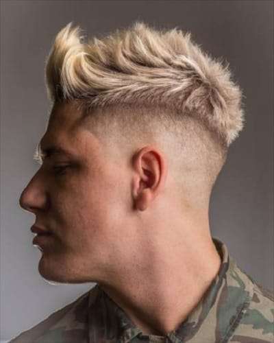 blonde hairstyle with high skin fade