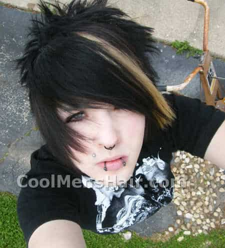 Photo of a boy with blonde striped emo hair.