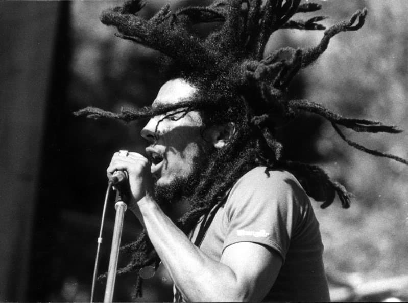 Bob Marley with his dreadlocks hairstyle