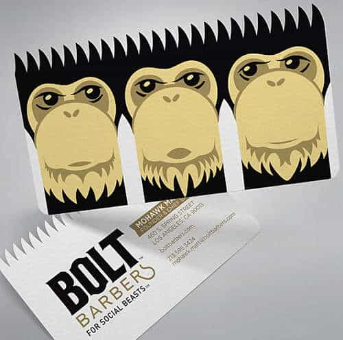 Bolt Barbers business card.