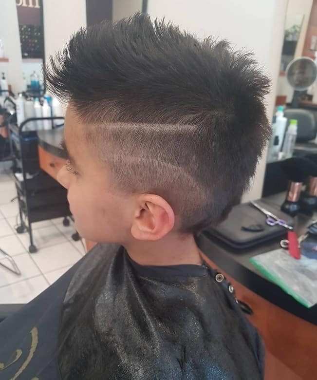 Boys Faux Hawk with Designed Fade