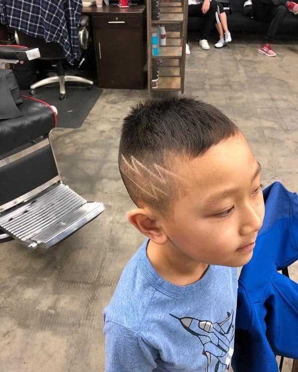 Boy's Undercut with Lightning Bolt Design