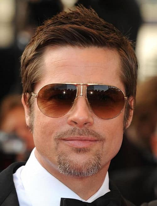 Brad Pitt's side parted hairstyle.