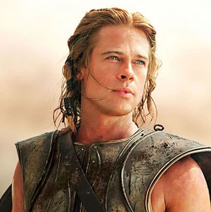 Brad Pitt long hair photo in the movie Troy.