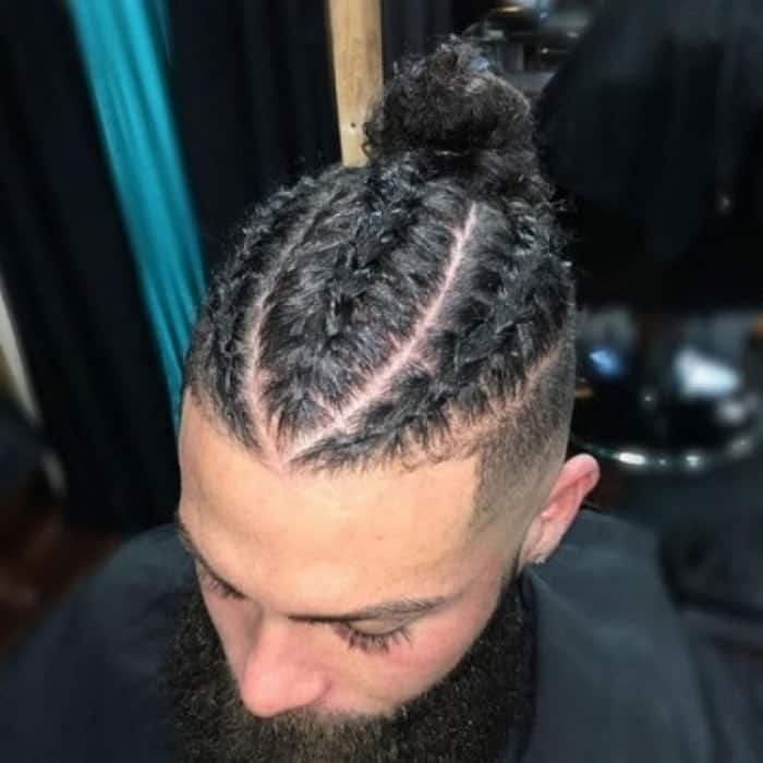 Triple Braids with A Bun for Men