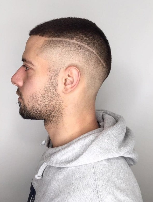 butch cut with hard line