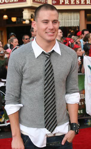 Photo of Channing Tatum with buzz haircut and casual attire.
