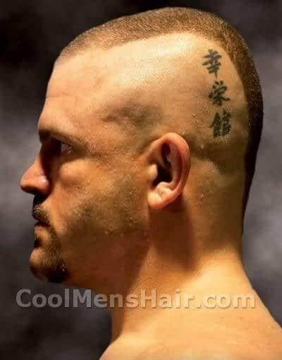 Photo of Chuck Liddell mohawk hair.