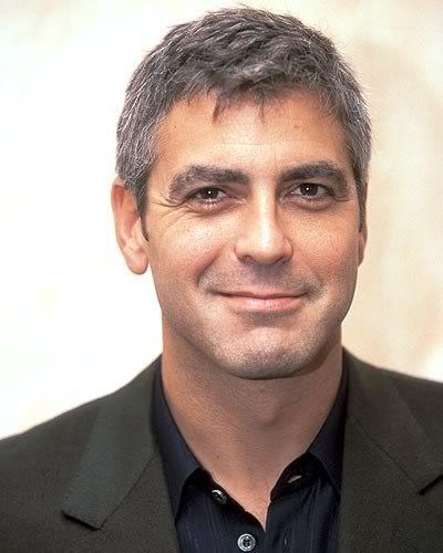 Image of George Clooney hairstyle for mature men.