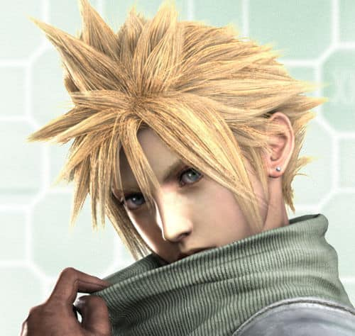 Photo of Cloud Strife spiky hairstyle.