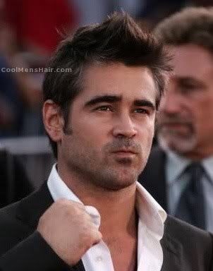 Picture of Colin Farrell mussed hairstyle.