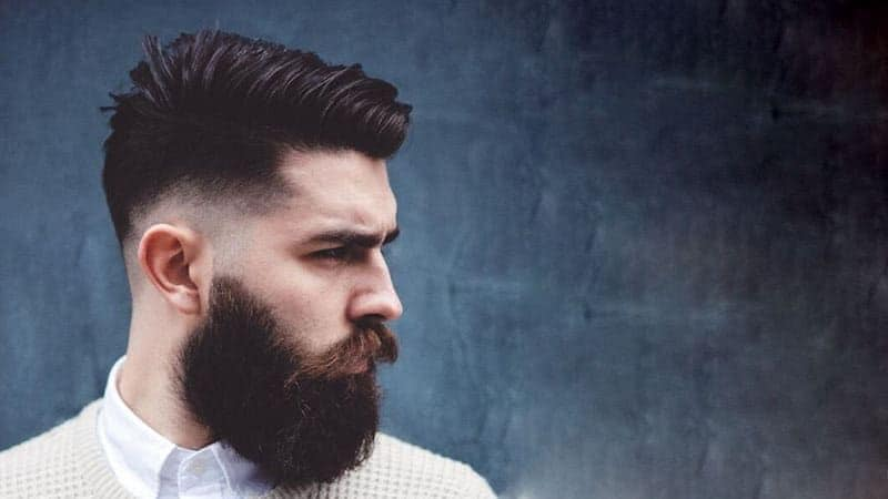 comb over fade with beard 2