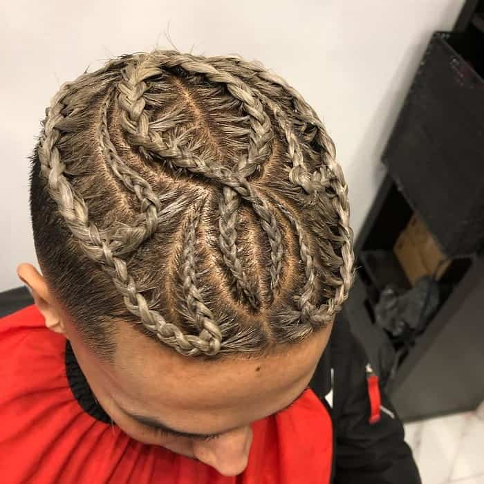 cornrow man bun with highlights