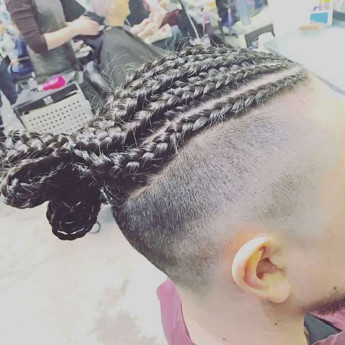 cornrow man bun for thick hair
