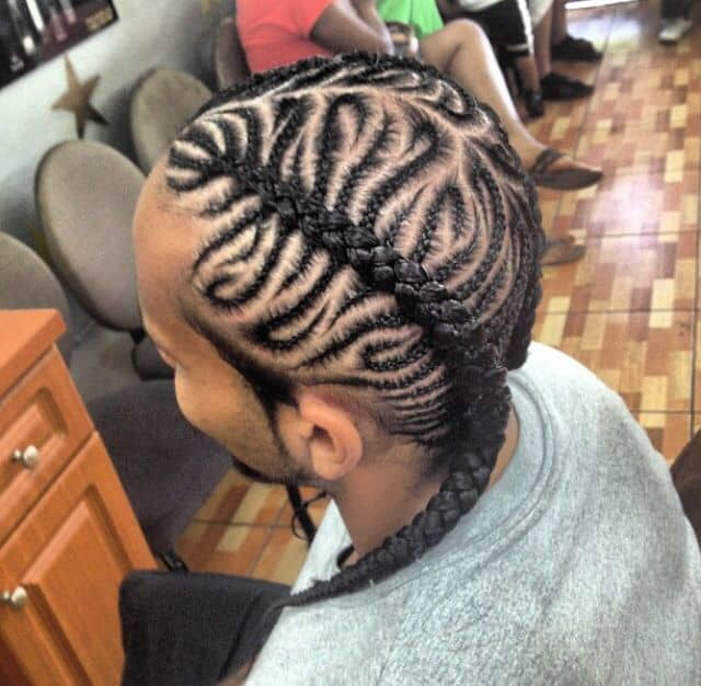 side braided cornrow for men